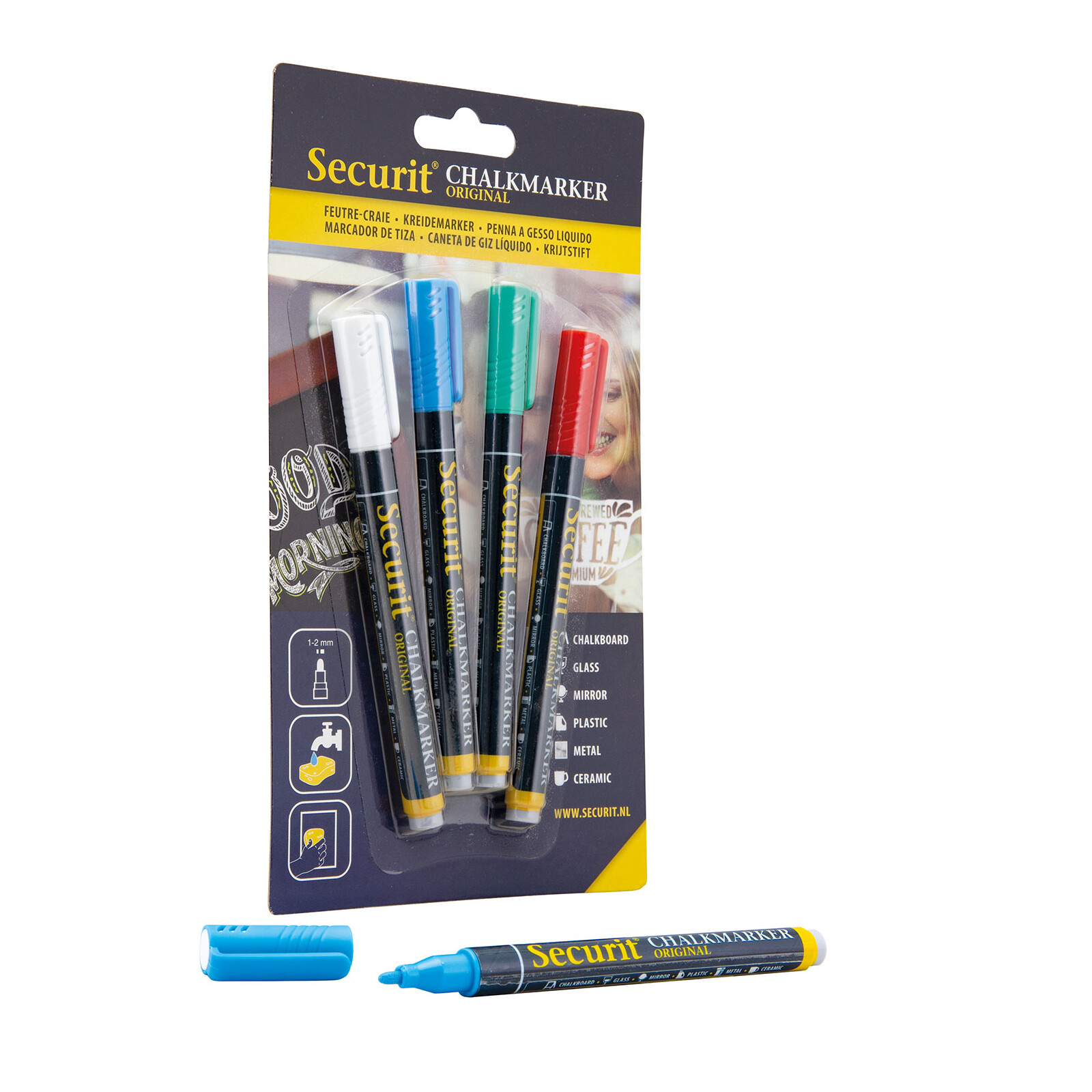Securit Kreidestifte 1-2mm 4er blau, rot, grün, weiß