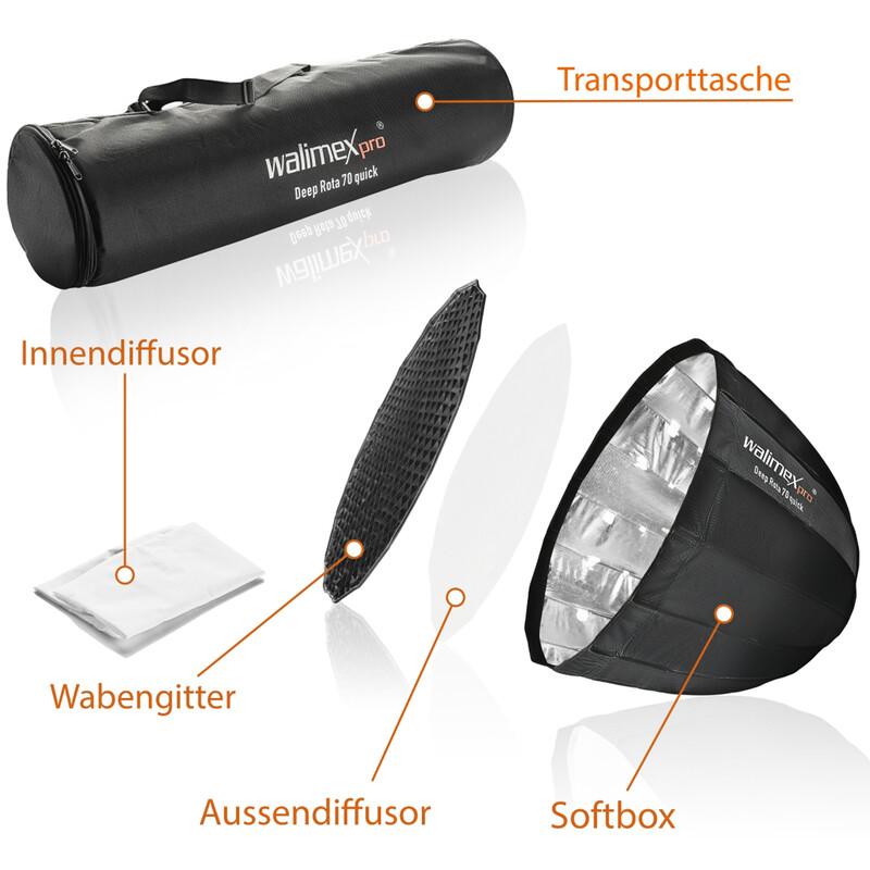 Walimex pro Studio Line Deep Rota Softbox QA70 Multiblitz V