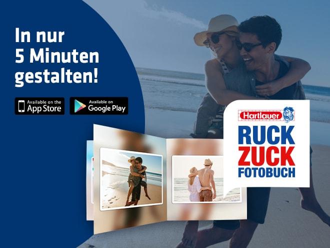 romantische Pärchen-Motive am Strand in einem Ruck Zuck Fotobuch von Hartlauer