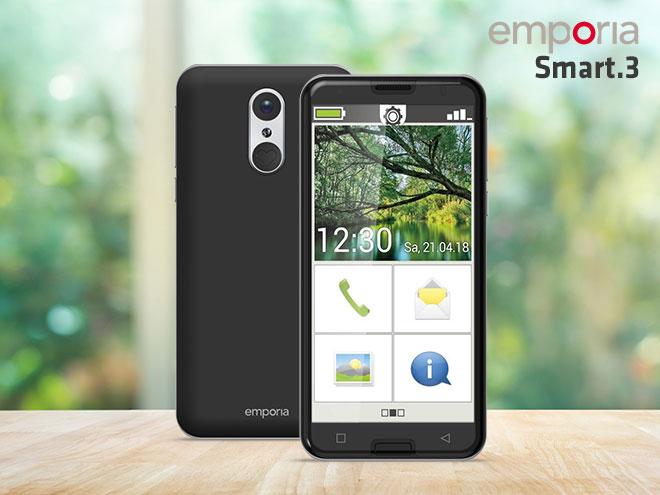 das Emporia Smart 3 mit einem großen Display und gut erkennbaren Symbolen sowie die Hinteransicht des Smartphones