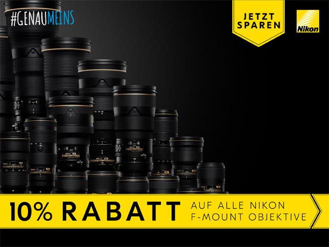 eine Vielzahl an Nikon F-Mount-Objektiven samt Hinweist zur 10%-Rabattaktion