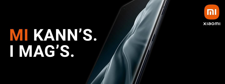 ein Xiaomi Smartphone von Hartlauer auf schwarzem Hintergrund