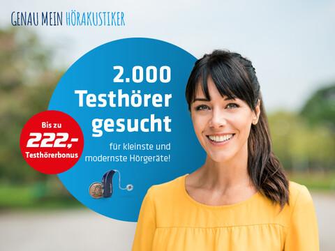 freundlich lächelnde Frau mit Aufruf für Hartlauer Testhörer für Hörgeräte und Hinweis auf Testhörerbonus