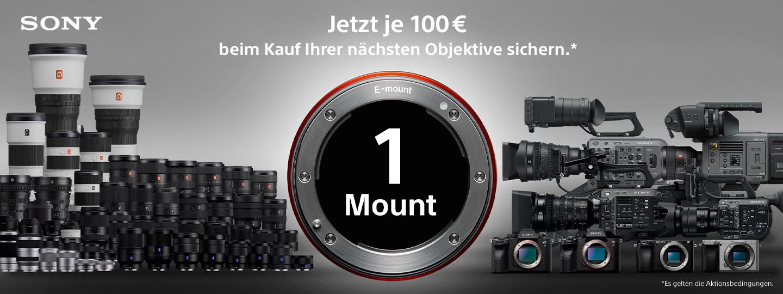 eine Vielzahl an Objektiven, Sony Alpha Kameras und Videokameras sowie die Beschreibung der Aktion