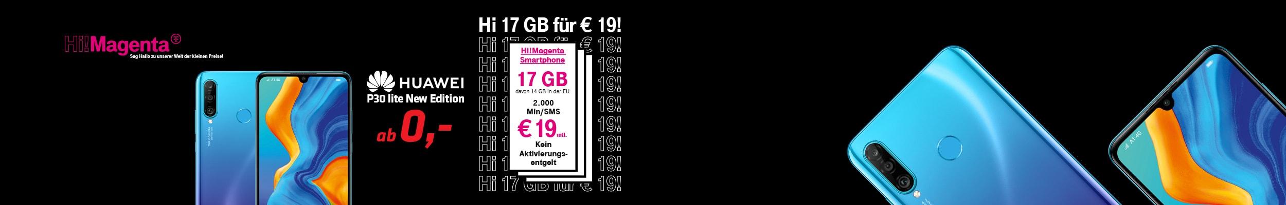 """""""das Huawei P30 lite New Edition in Vorder- und Rückansicht samt Beschreibung des Magenta-Tarifs """""""