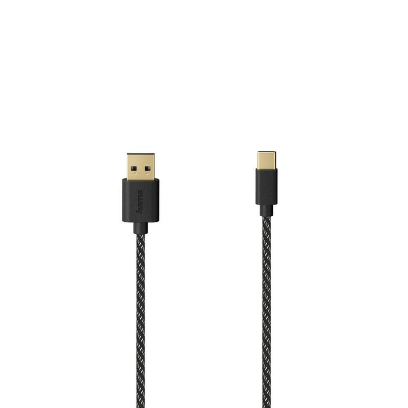 Hama 201002 USB-C-Kabel USB-A 2.0 USB-C 1,5m vergoldet