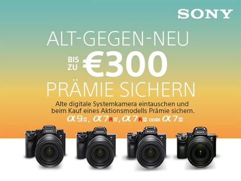 vier Sony Alpha Kamera-Modelle und Infos zur Sony-Eintauschaktion