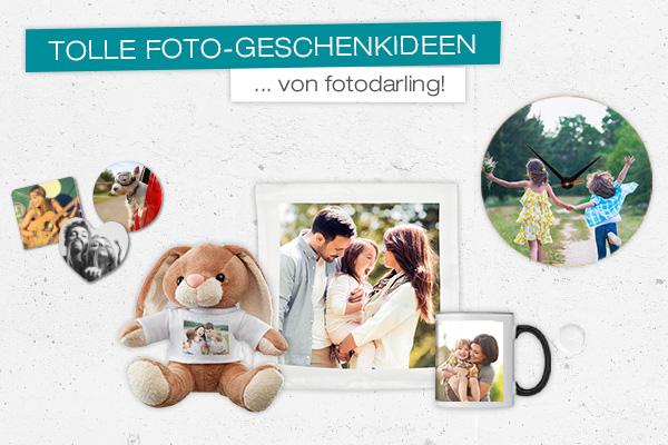 verschiedene Foto-Geschenkideen von fotodarling wie Tasse, Kissenbezug und Uhr