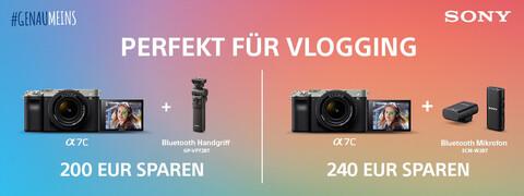 die Vlogging-Kamera Sony Alpha 7C sowie passendes Zubehör und der Hinweis zur Aktion