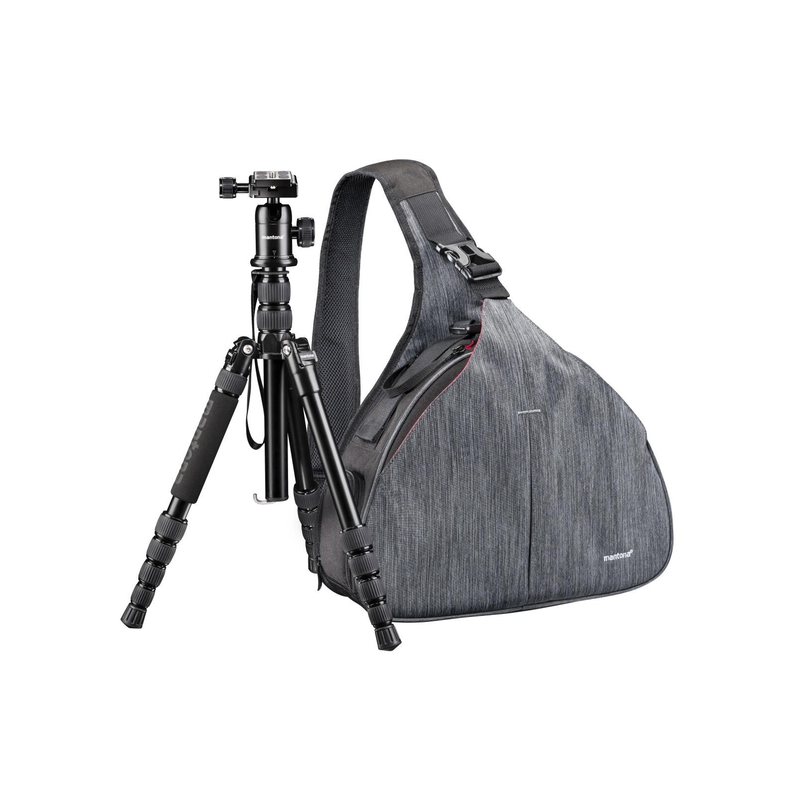 Mantona Kameratasche Triangel Grau + DSLM Stativ
