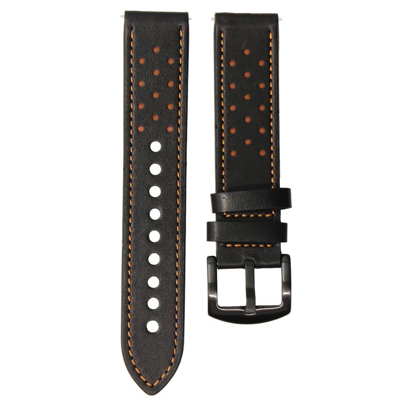 Mika Uhrenarmband Uni 22mm Echtleder schwarz