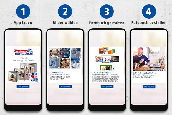 Hartlauer Ruck Zuck Fotobuch App Screens