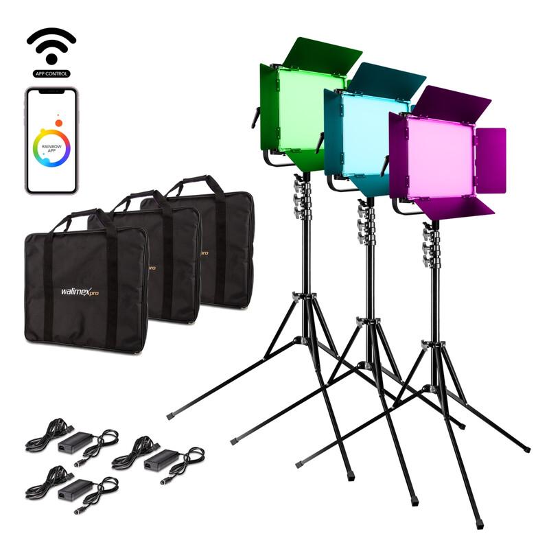 Walimex pro LED Rainbow 100W RGBWW Set 3 (3x Rainbow 100W, 3