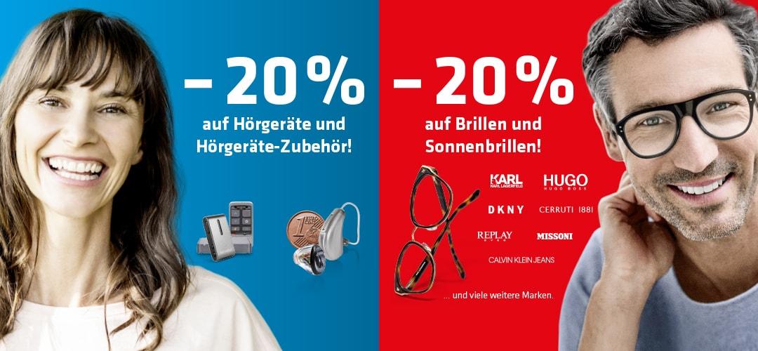Abbildung zweier Personen samt Beschreibung der zwei -20%-Aktionen der Hartlauer Eröffnung in Mittersill