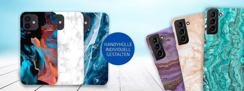 sechs Handyhüllen in verschiedenen Designs von Hartlauer