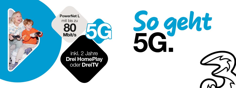 Drei PowerNet L 5G Angebotsinfos in Kachelform mit Foto von Oma mit Enkel beim Gamen