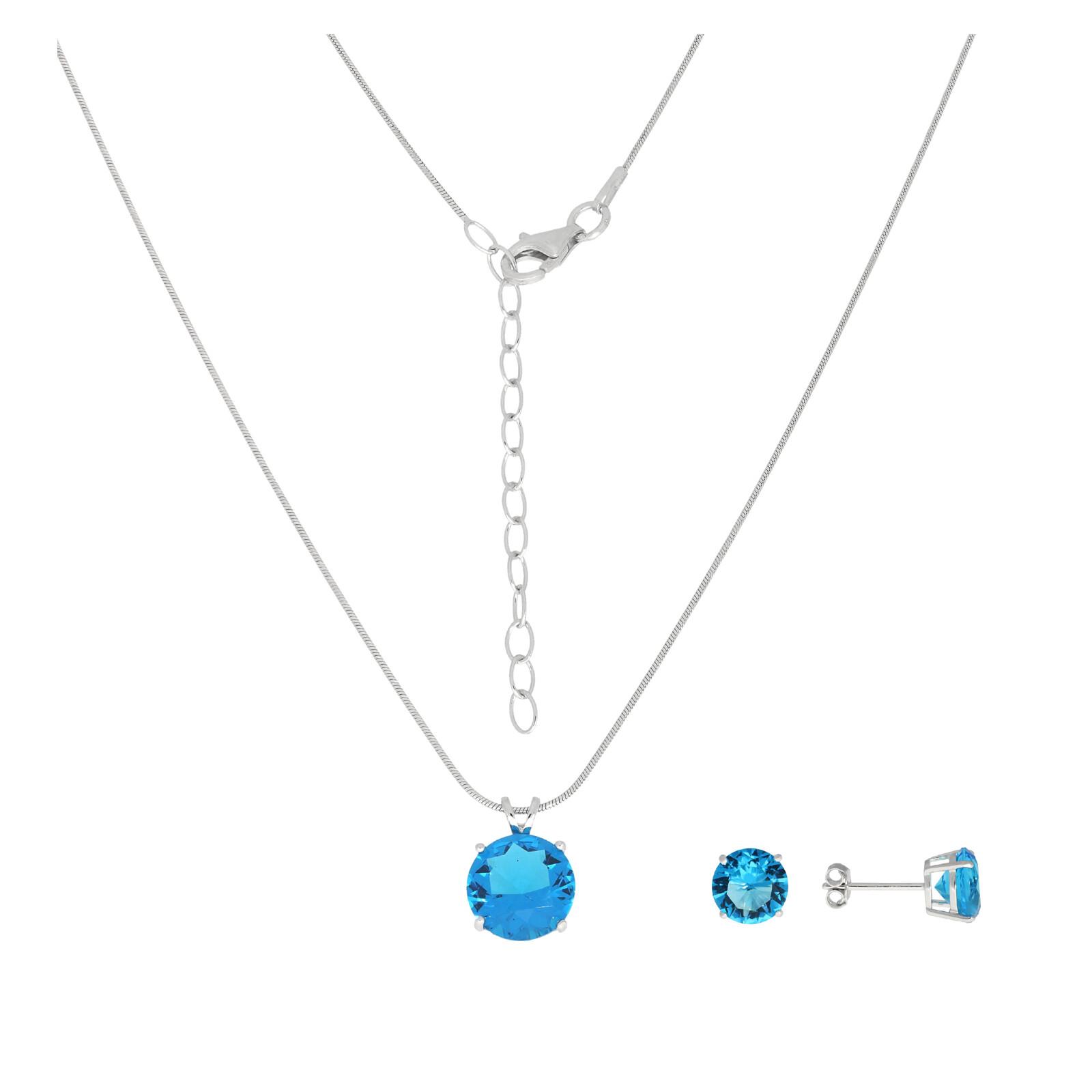 Set Kette und Ohrringe blau Zirkonia