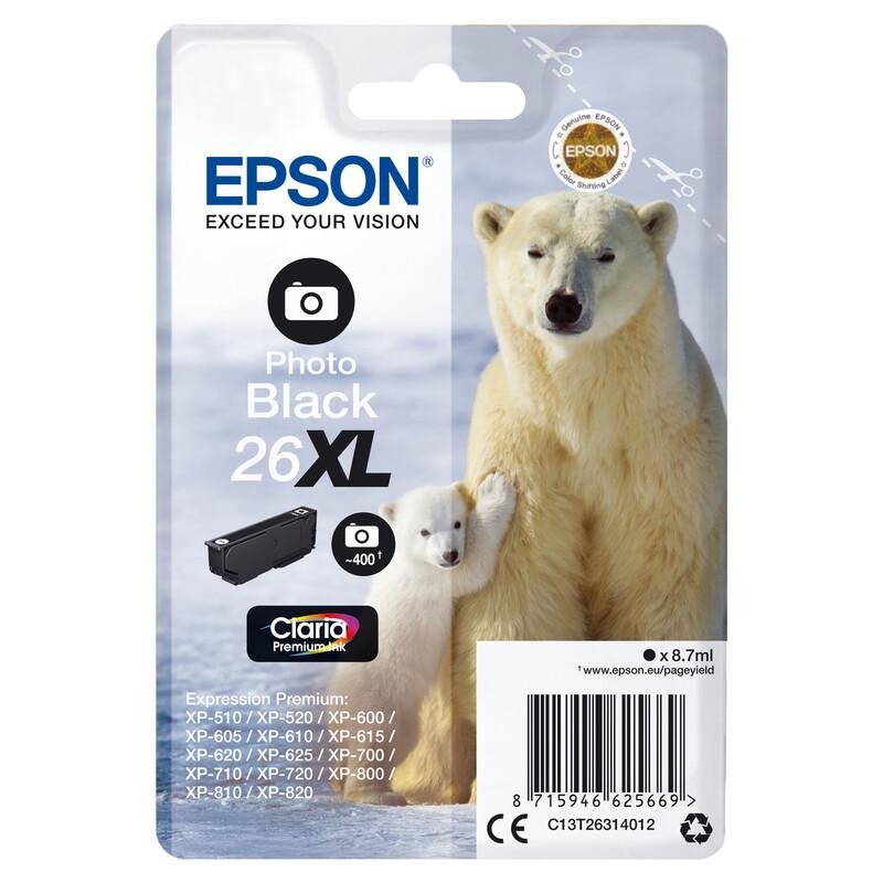 Epson 26XL T2631 Tinte Photo Black 8,7ml