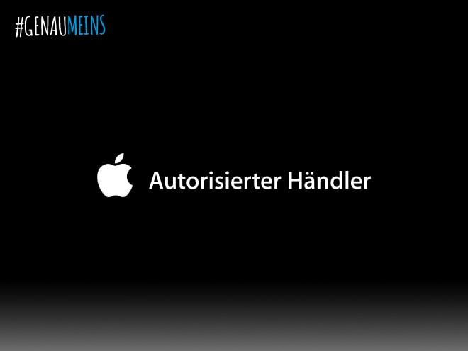 """Apple Logo und Schriftzug """"Autorisierter Händler"""" auf schwarzem Hintergrund"""