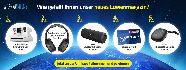 Umfrage zum Hartlauer Löwenmagazin mit 5 Preisen wie Polaroid Box, Skullcandy Hesh Kopfhörer, Gutscheine usw.