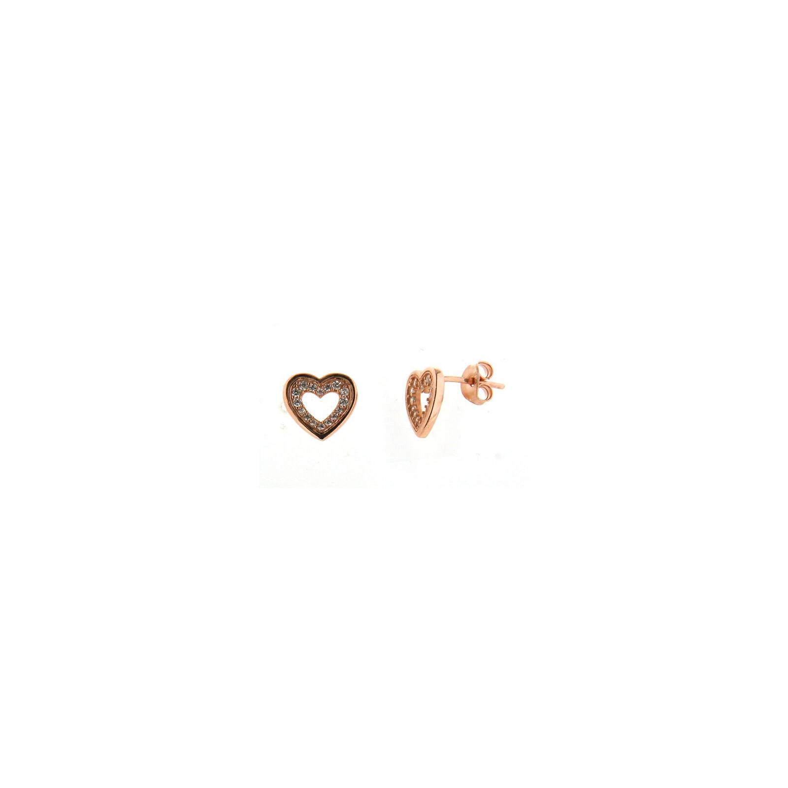 Ohrstecker Zirkonia rosevergoldet Herz