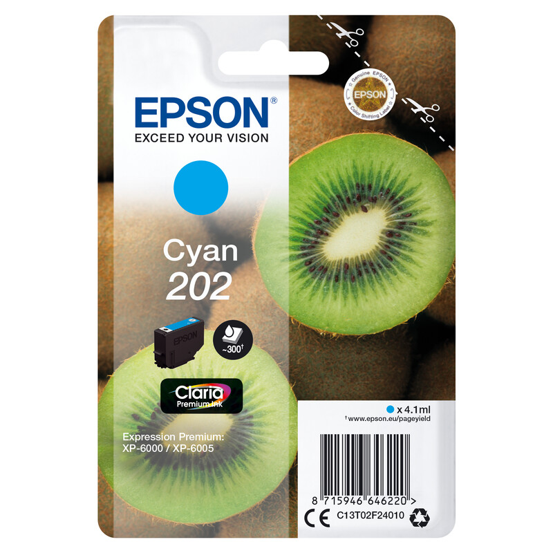 Epson 202 T02F2 Tinte Cyan 4,1ml