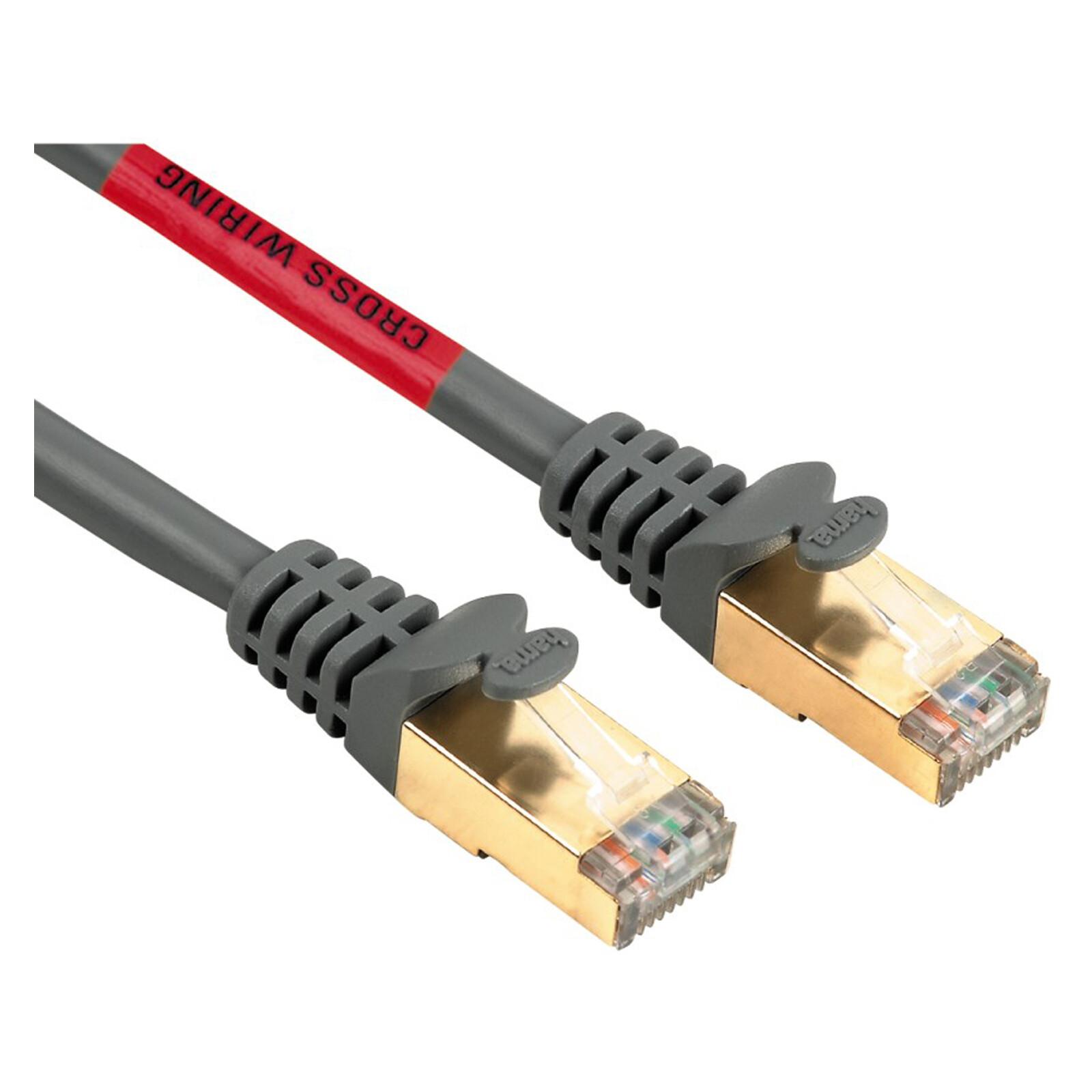 """Hama 45058 CAT-5e-Netzwerkkabel """"Cross-Over"""" STP, vergoldet,"""
