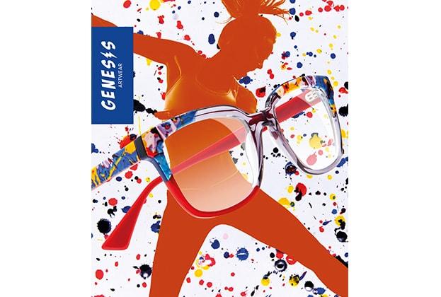 eine Genesis Artwear Brille vor buntem Hintergrund