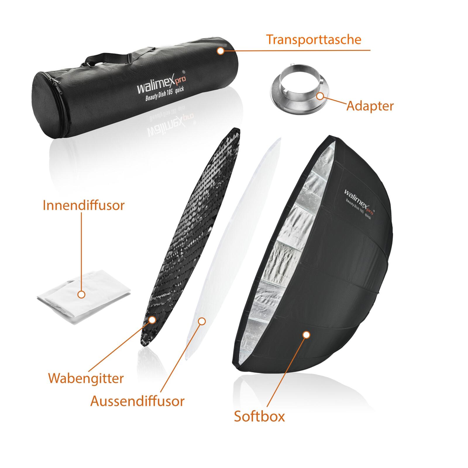 Walimex pro Studio Line Beauty Dish Softbox QA105 Aurora/Bow