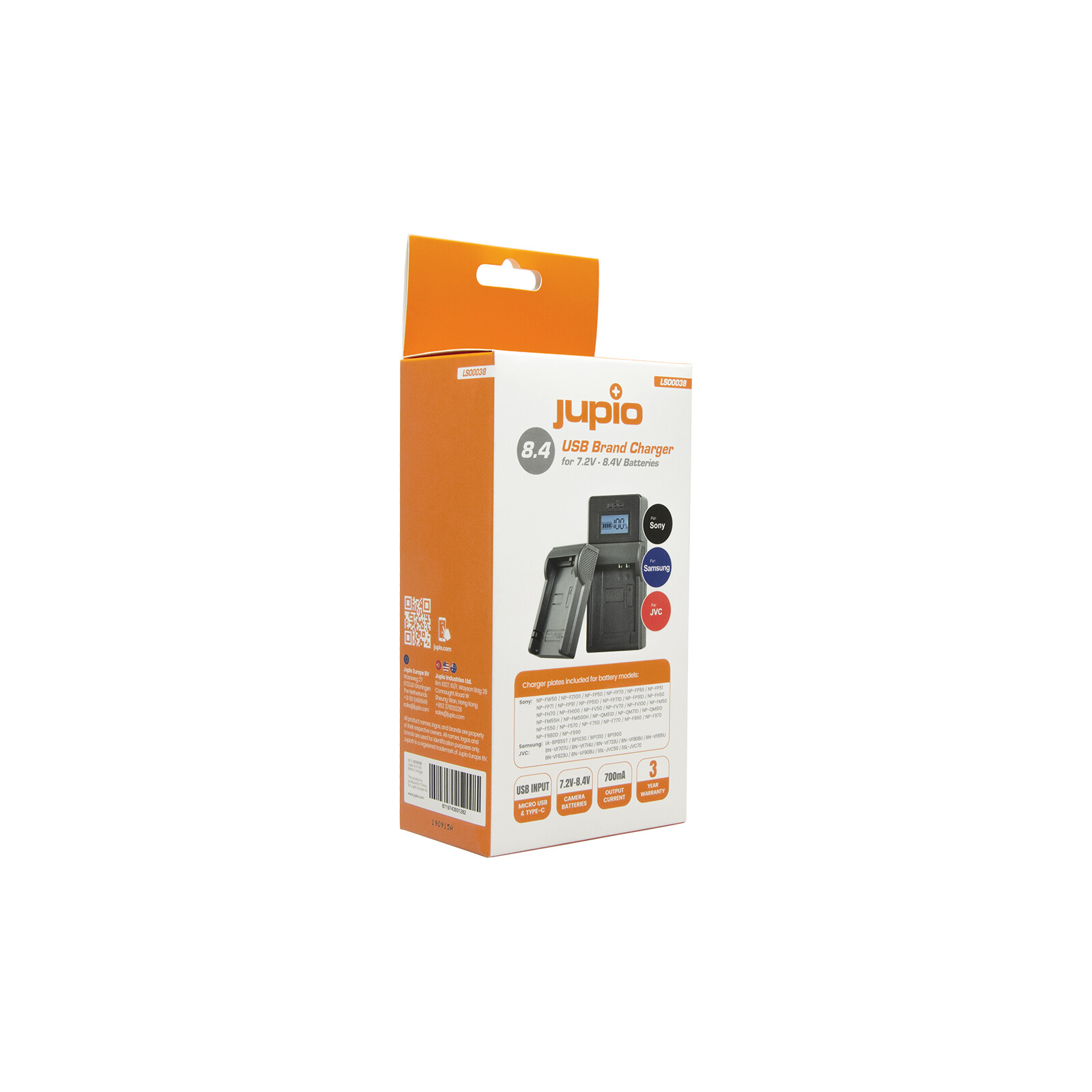 Jupio Brand Charger for Sony, Samsung, JVC 7.2-8.4