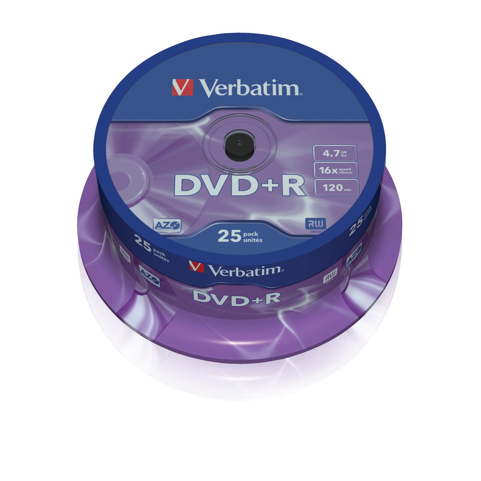 Verbatim DVD+R 4,7GB/16f Spindel 1x25