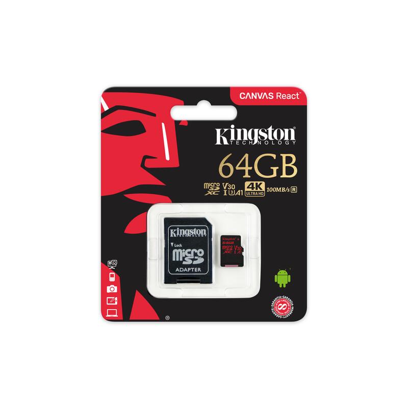 Kingston mSDXC 64GB Canvas React UHS-I U3