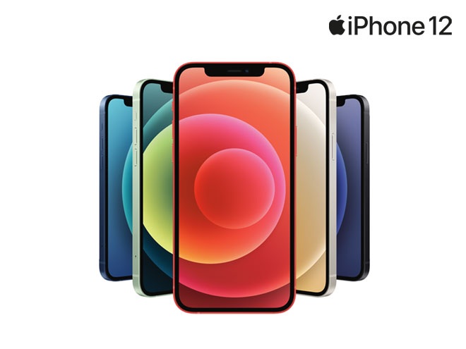 die neuen iPhone 12 Smartphones in verschiedenen bunten Farben