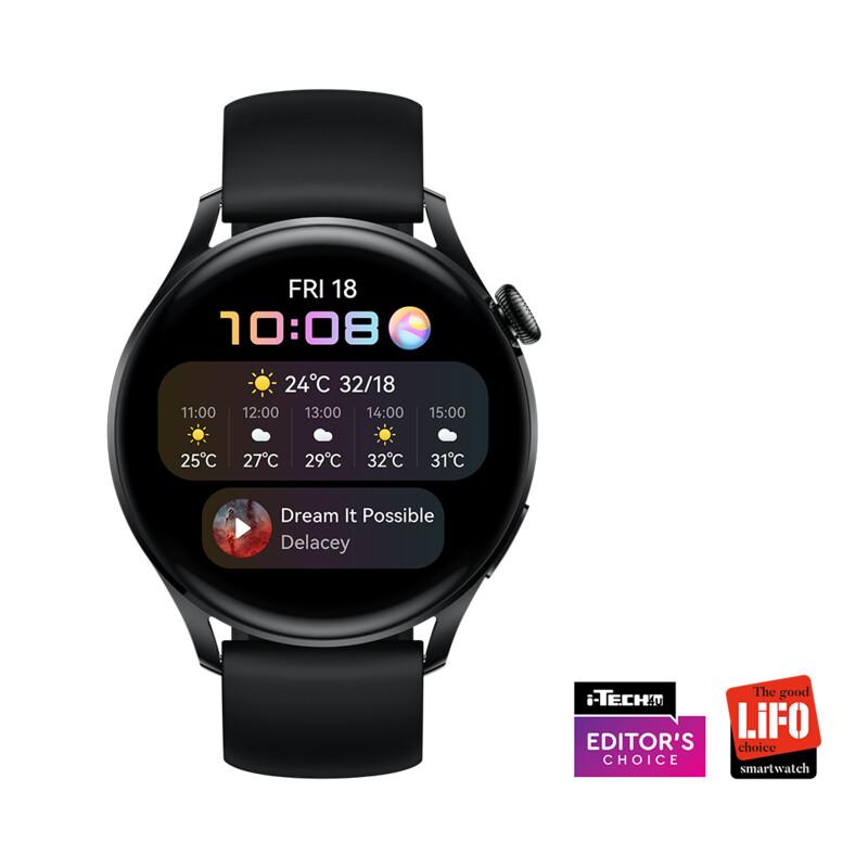 Hua Watch 3 Active eSim 46mm Silikon schwarz/black steel