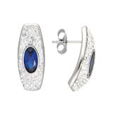 Edelstahlohrstecker Kristalle weiss und blau