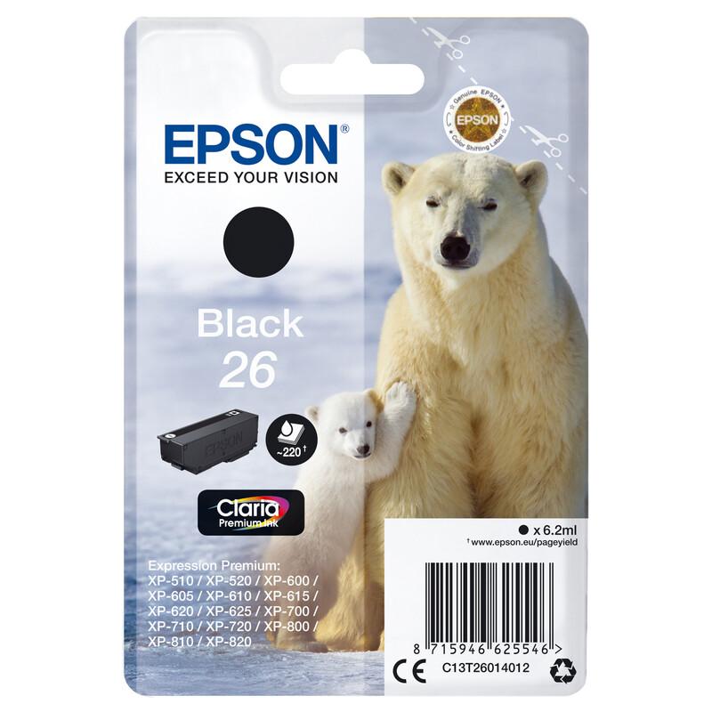 Epson 26 T2601 Tinte Black 6,2ml