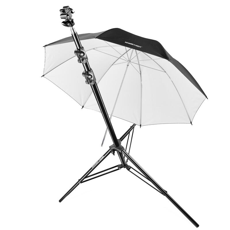walimex pro Blitzhalterset + Stativ + Schirm