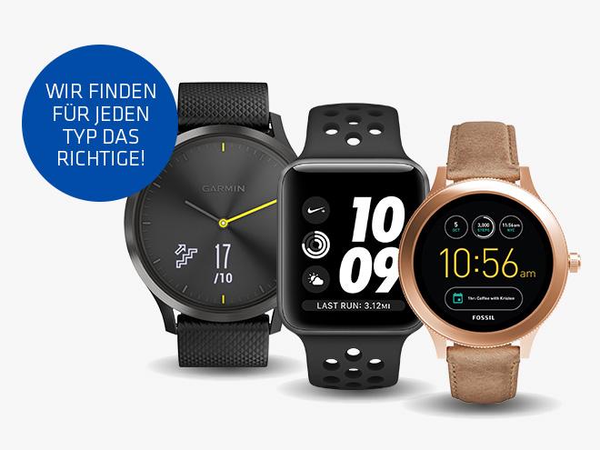 """drei Smartwatches in verschiedenen Designs und dem Claim """"Wir finden für jeden Typ das Richtige"""" in einem Störer"""