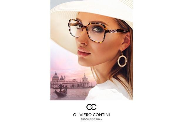 Dame mit weißem Hut und Oliviero Contini Markenbrille von Hartlauer