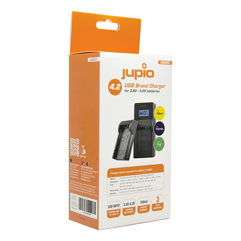 Jupio Brand Charger für Nikon, Fuji, Olympus 3.6-4.2V