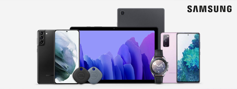 verschiedenste SAMSUNG Produkte von Smartphones über Tablets bis zur Smartwatch auf weißem Hintergrund