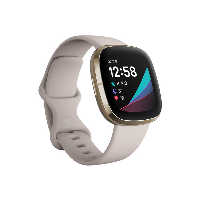Fitbit Sense Lunar White/Soft Gold Stainless Steel