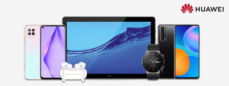 Huawei Smartphones, Tablet, Kopfhörer und Smartwatch mit Huawei Logo auf weißem Hintergrund