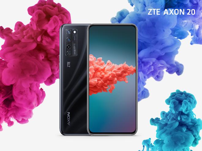 ZTE Axon 20 von vorne und hinten auf weißem Hintergrund mit pinken und blauen Farbwolken