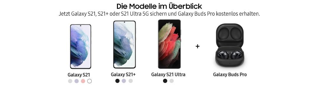 verschiedene Smartphones aus der Samsung Galaxy S21 Serie sowie Galaxy Pro Buds