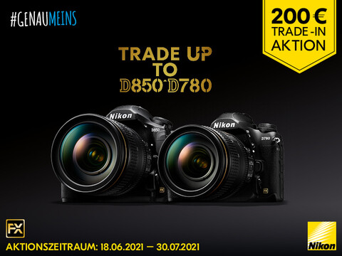 eine Nikon D780 und eine Nikon D850 und der Hinweis zur Trade-In-Aktion