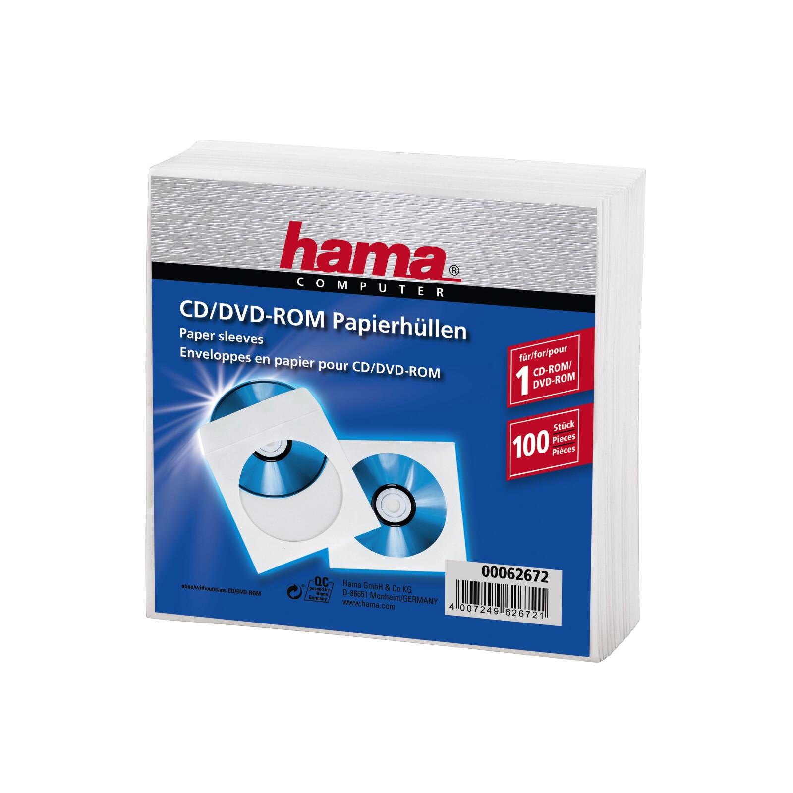 Hama 62672 CD-/DVD-Papierhüllen 100er-Pack Weiß