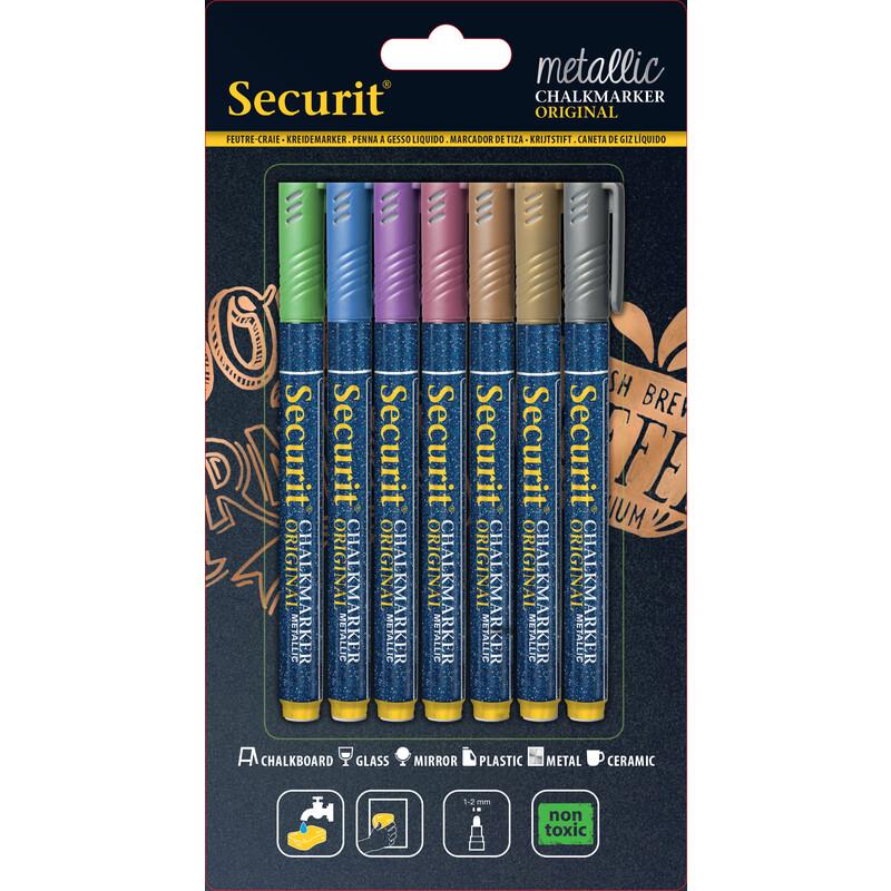 Securit metallic Kreidestifte 1-2mm 7er pink, green, blue, v