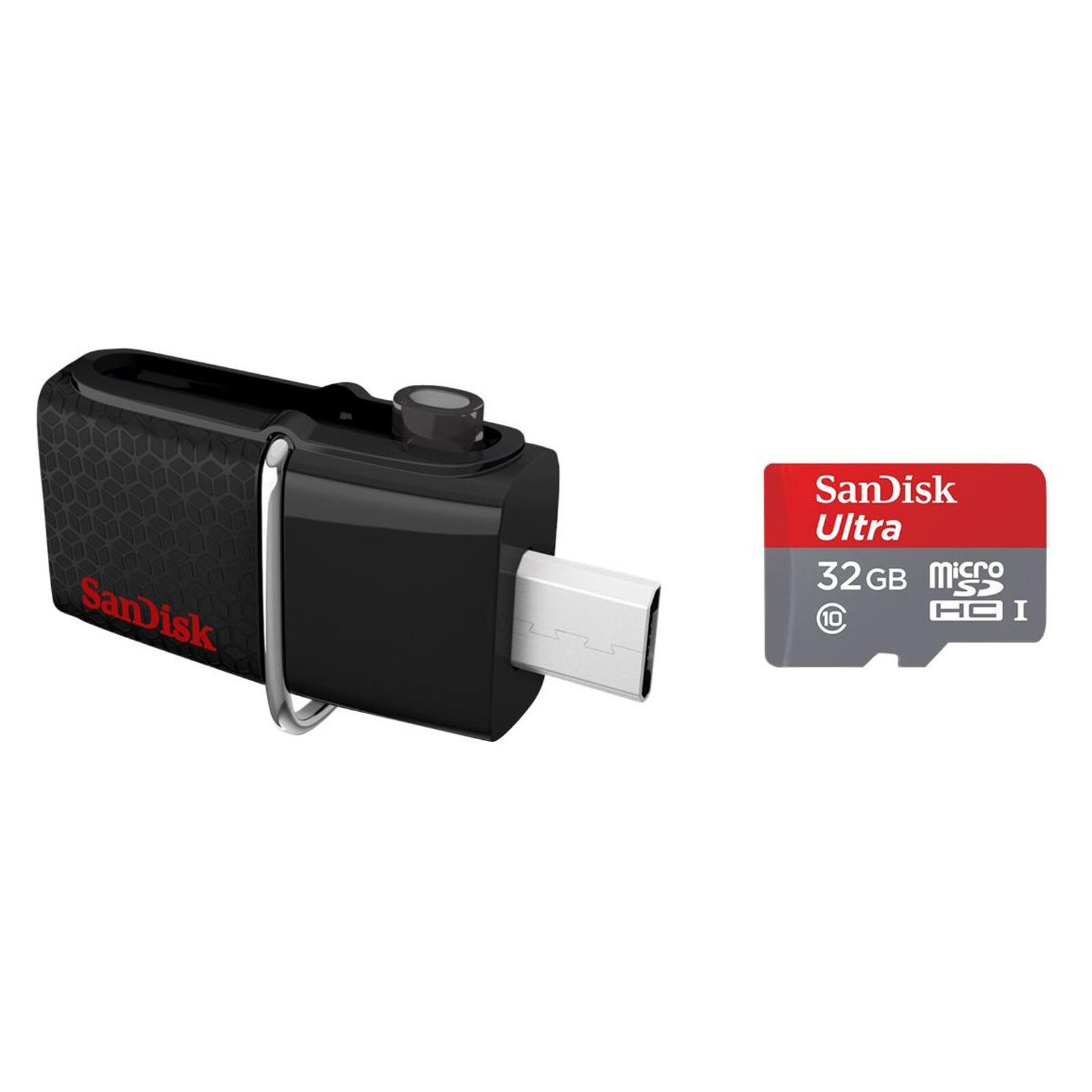 Sandisk Ultra Dual Drive USB 3.0 32GB + Ultra mSD 32GB Set