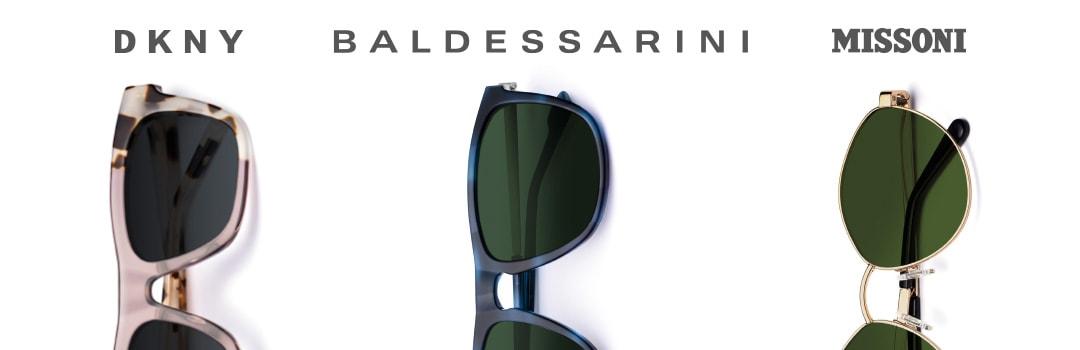 drei Sonnenbrillen von DKNY, Baldessarini und Missoni mit Markenlogos auf weißem Hintergrund